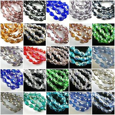 Delicate 6x8mm Faceted Glass Crystal Finding Spacer Loose Oval Rugby Beads FREE