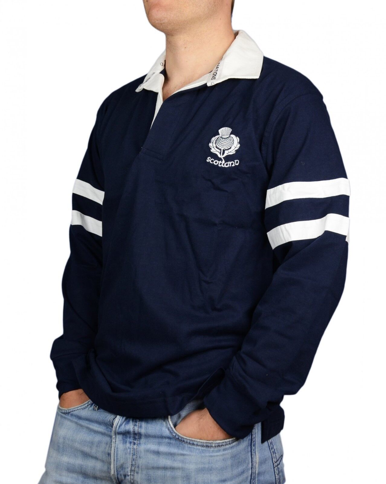 Scotland Two Stripe Long Sleeve Rugby Shirt with Thistle Embroidery Detail