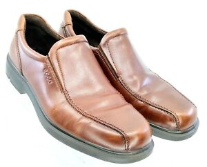 ECCO-Loafer-Men-039-s-EUR-46-US-12-12-5-Brown-Leather-Bicycle-Toe-Slip-On-Dress-Shoe