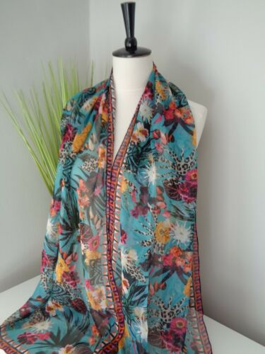 BNWT Biba Teal Multi Blair Floral Print 100/% Chiffon Silk Scarf
