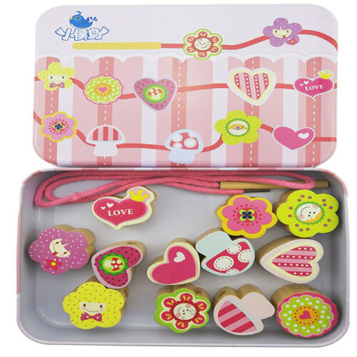 Metal Box Lacing /& Stringing Wooden Beads with String Kids Toys Jian