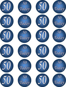 Image Is Loading 50th Birthday Blue Edible Cupcake Fairy Cake Toppers