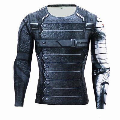 3D Superhero Winter Soldier T-shirts Gym Sport Long Sleeve Tee Bicycle Jersey