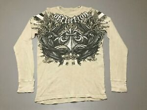 AFFLICTION-Death-Scythe-Angels-Heaven-Long-Sleeve-Beige-T-Shirt-Adult-Size-Large
