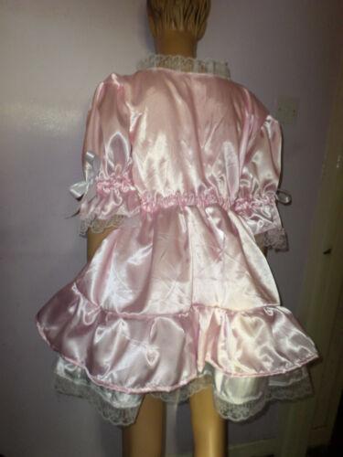 "ADULT BABY SISSY PINK WHITE SATIN bo peep  DRESS 48/"" PRETTY  FRILL HEM"