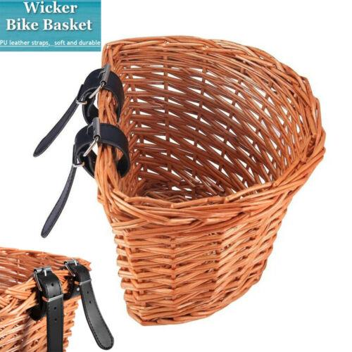 Wicker Bike Basket Children Bicycle Front Mount Basket Bicycle Storage Holder UK