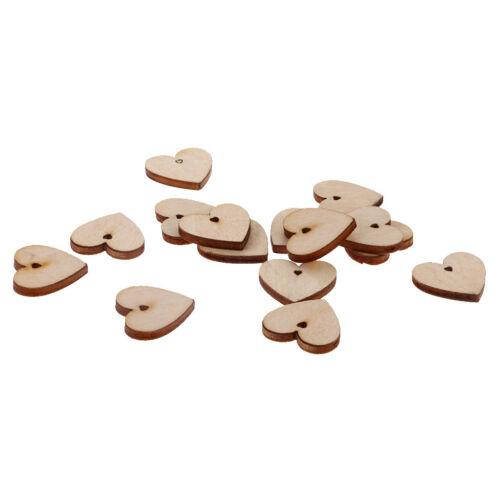 100pcs hölzerne Ausschnitt Form unfertige Herz Scheibe mit Loch für