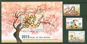 Uni Curaçao 2013-nouvel An Chinois-année Du Serpent-nº 146-48 + Bloc 10 Style à La Mode;