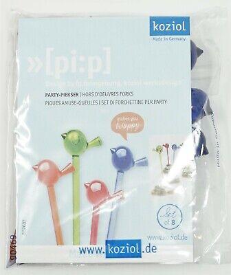 Koziol Party Piekser Piep 8 Stück Set NEU Vögel Kunststoff blau grün oran pi:p