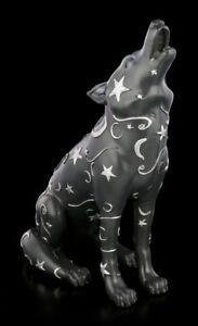 Wolf-Figur-mit-Mond-und-Sternen-Lupus-Wolf-Hund-Welpe-Deko-Statue