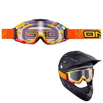 Oneal Goggle Orange Occhiali Mx Moto Cross Mountain Bike Downhill Moto Quad Atv- Asciugare Senza Stirare