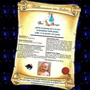 Geschenk-zur-Geburt-Kind-Baby-Glueckwunschkarte-Urkunde-mit-Widmung-Taufe-Eltern