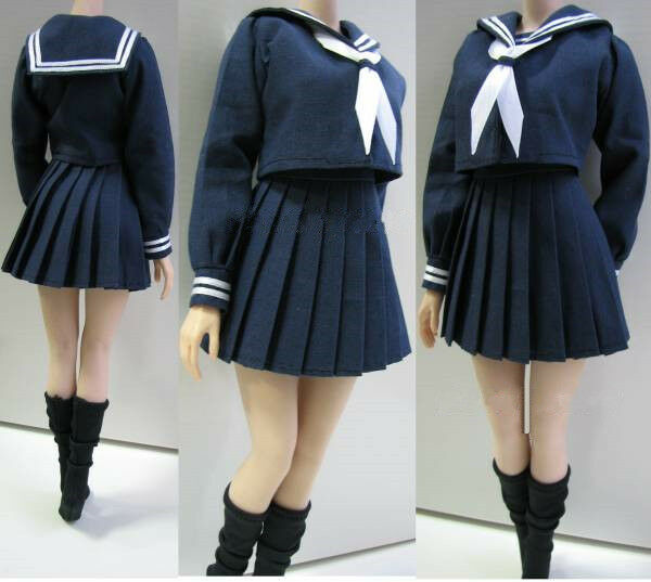 1 6 Female Students School Uniform Full Set Clothing F 12  Figure Body PL39