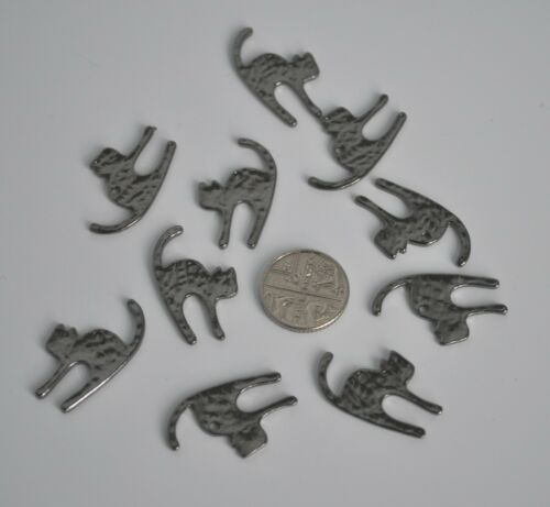 Crafting//jewellery making UK 10 x cat pendants//charms Black//dark pewter grey