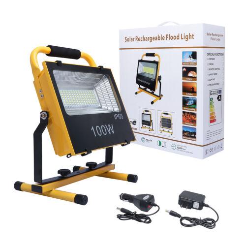 100W USB Solar LED Work Light Rechargeable Emergency Flood Lamp W// Tripod Stand