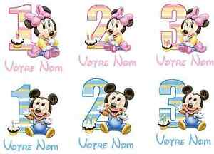 TRANSFERT-POUR-TEXTILE-MICKEY-MINNIE-BEBE-ANNIVERSAIRE-LOT-MP
