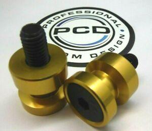 Aluminium Paddock Stand Bobbins, M10 Fitment ANODISED GOLD BLACK BOLTS, UK Made