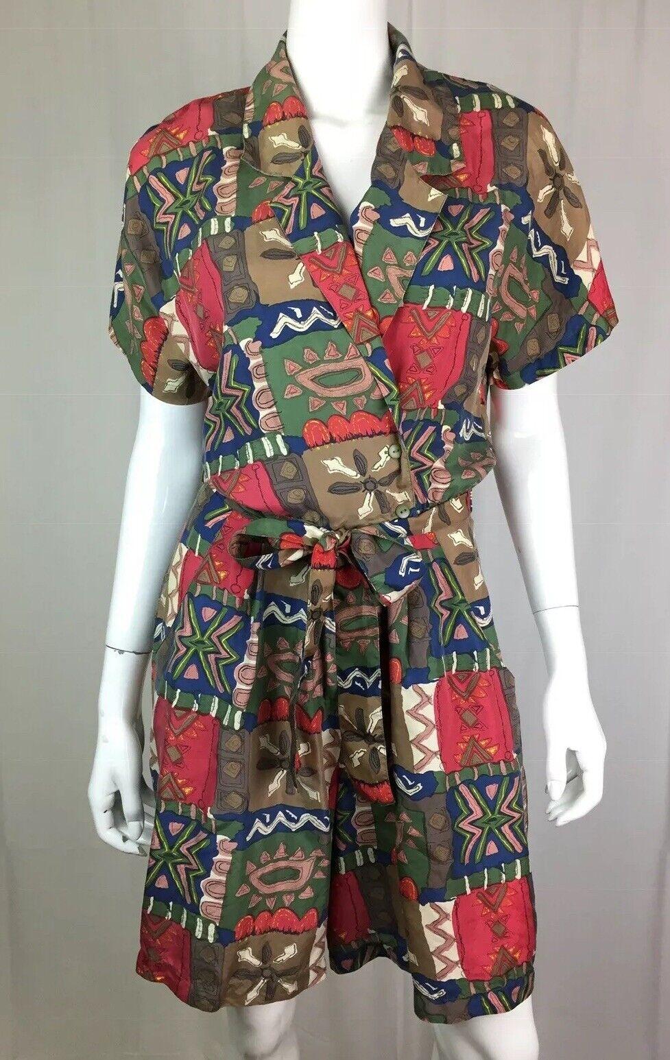 Vintage 1950's Hattie Carnegie Women's Small Silk Tribal Draped Belted Romper