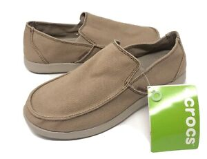 Crocs-Santa-Cruz-Clean-Cut-Canvas-loafer-slip-on-Mens-Size-9-Khaki-Cobblestone