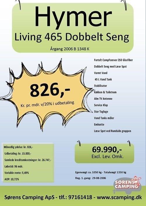 Hymer Living 465, 2006, kg egenvægt 1050