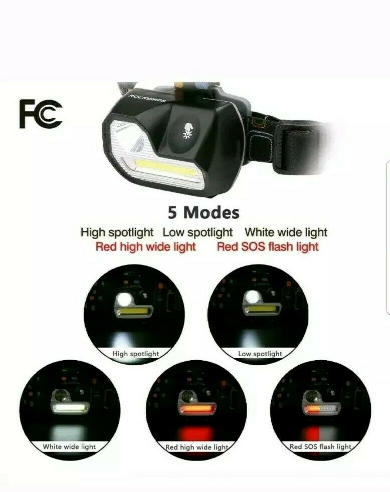 Headlamp 3 AAA Batteries Waterproof Touch Sensitive Switch White /& Red Red LED Headlights RockBirds H542 200Lumens 5 Modes