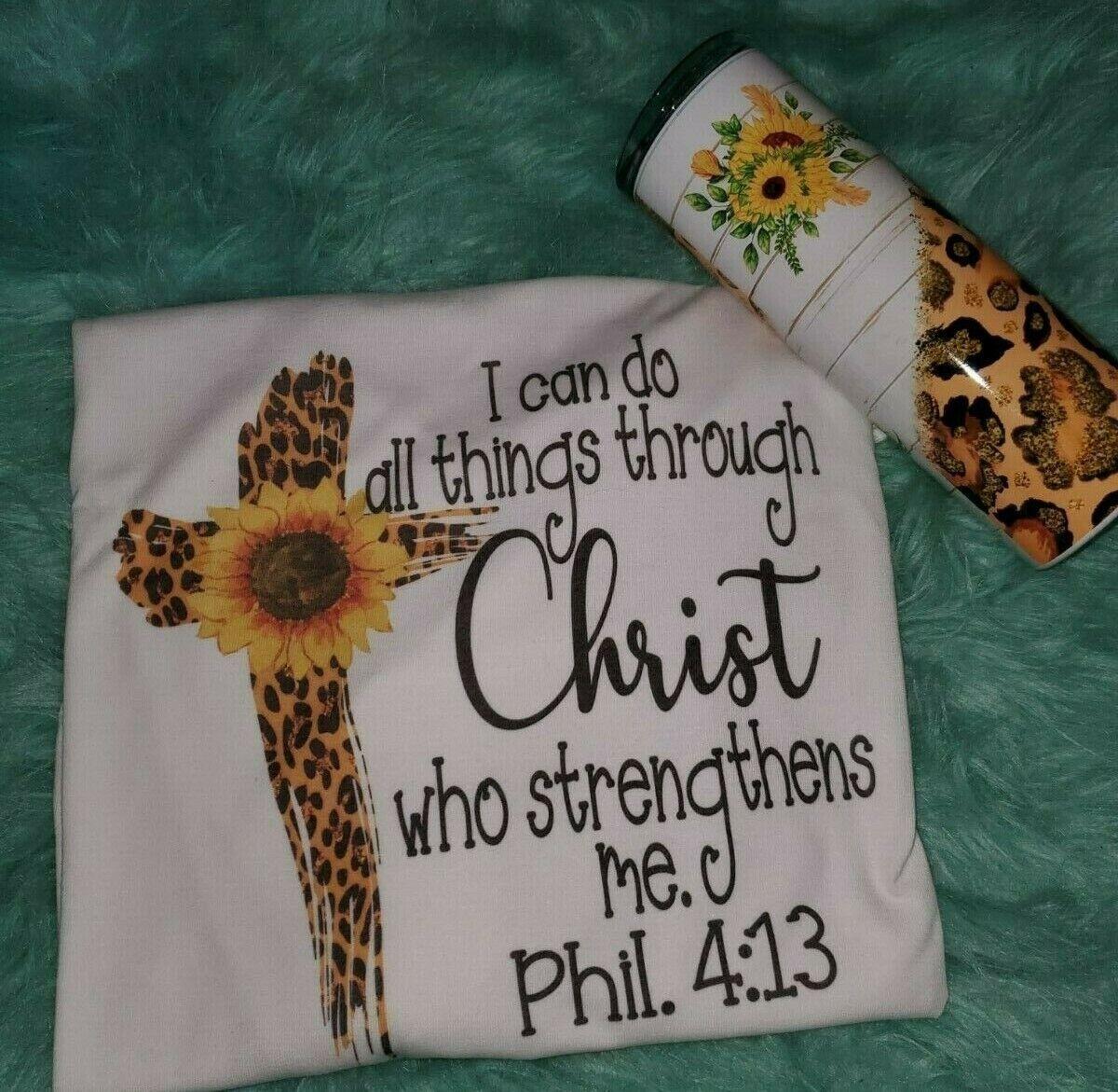 Shirt and tumbler set Bible verse shirt i can do all things through christ