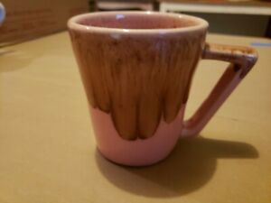 Win Art Vintage Pottery Pink and Brown Drip Glaze Coffee Cup Mug 1950's