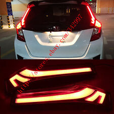 2x Rear Window decoration Tail lamp led brake lights For Honda Jazz Fit 2014-16
