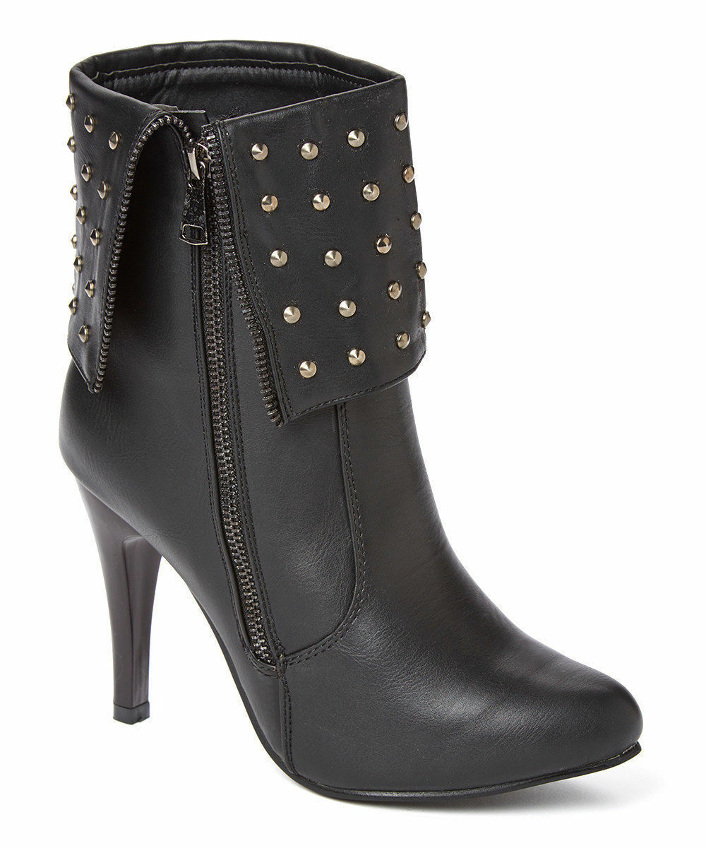 NEW Womens Forever Young Couture Black Studded Fold Over Zip Up Booties