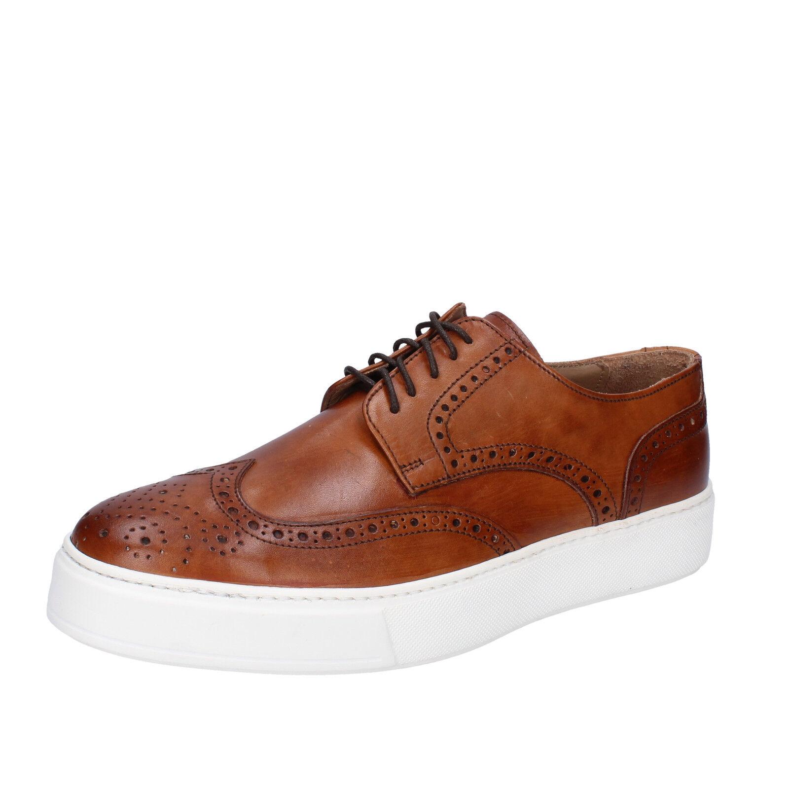 Herren schuhe DI MELLA 43 EU elegante sneakers braun leder AB930-D