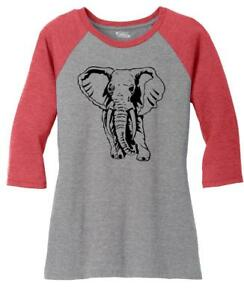935f189b74ce84 Image is loading Ladies-Elephant-3-4-Raglan-Animal-Graphic-Tee-
