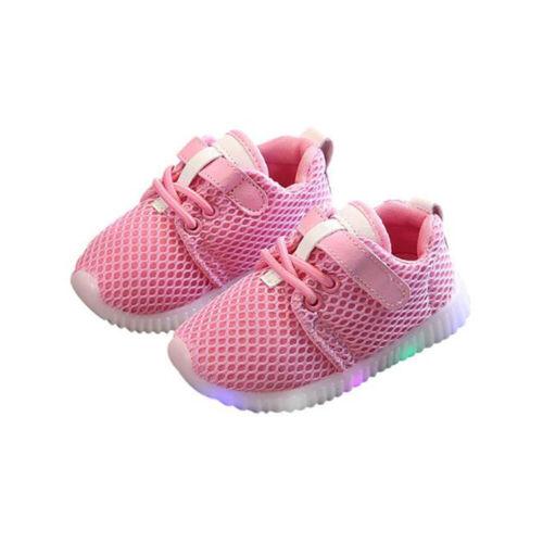 LED Kids Boys Girls Flashing Running Shoes Mesh Sneaker Luminous Trainers Size