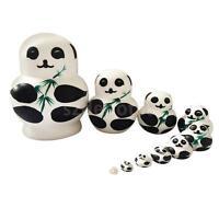 Wooden Russian Nesting Babushka Matryoshka 10 Dolls Set Panda Bear & Bamboo