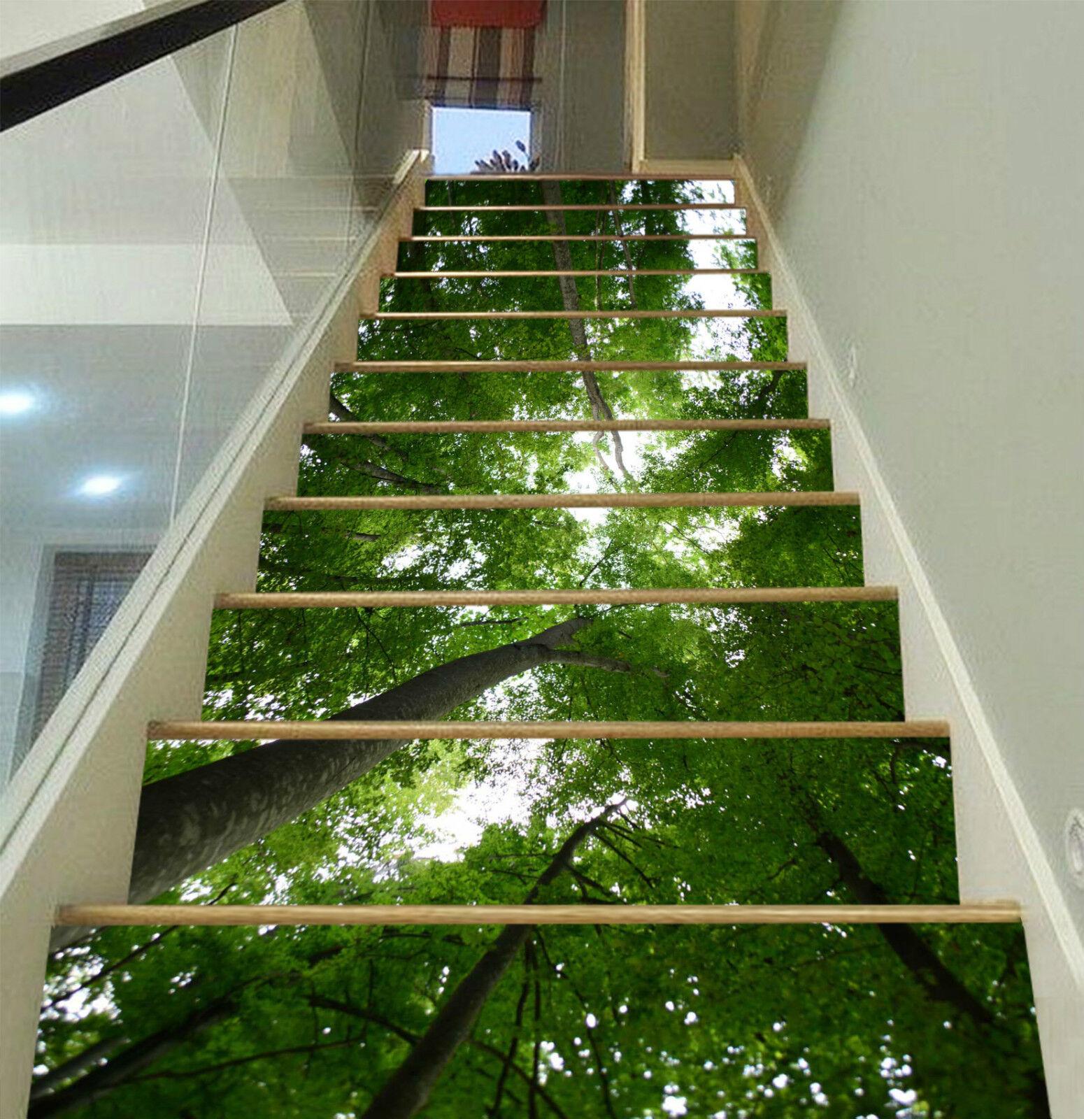 3D Grüner Baum 01 Stair Risers Dekoration Fototapete Vinyl Aufkleber Tapete DE