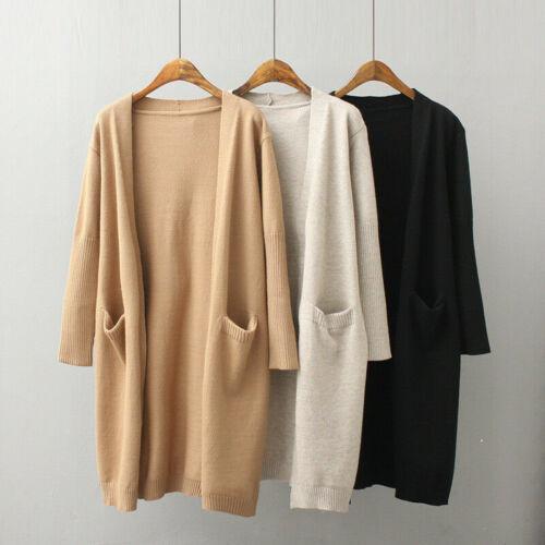 Women Long Sleeve Knit Open Front Cardigan Top Jacket Jumper Coat Sweater S-XL