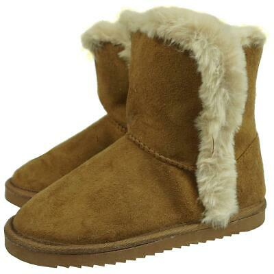 Girls Snug Faux Fur Trim BLACK Shimmer Winter Ankle Boots UK Child Sizes 13 to 5