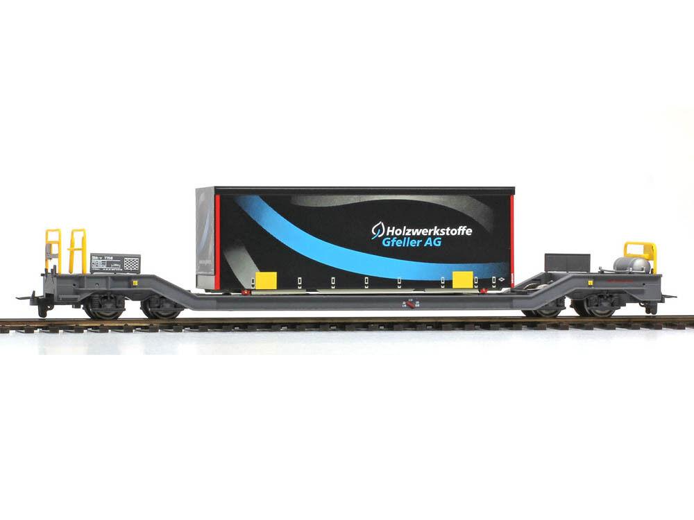 BEMO 2289164 autori merci container autorello SBK-V 7708 RHB con contenitore pianifiautoe Gfeller