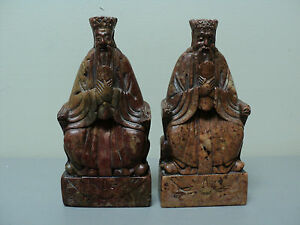 UNUSUAL PAIR of ANTIQUE CHINESE HAND CARVED SOAPSTONE BOOKENDS with IMMORTALS