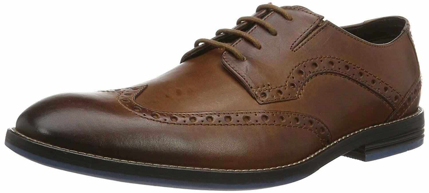 Men's Clarks Tor Collection Prangley Limit Wing Tip shoes British Tan 26123264