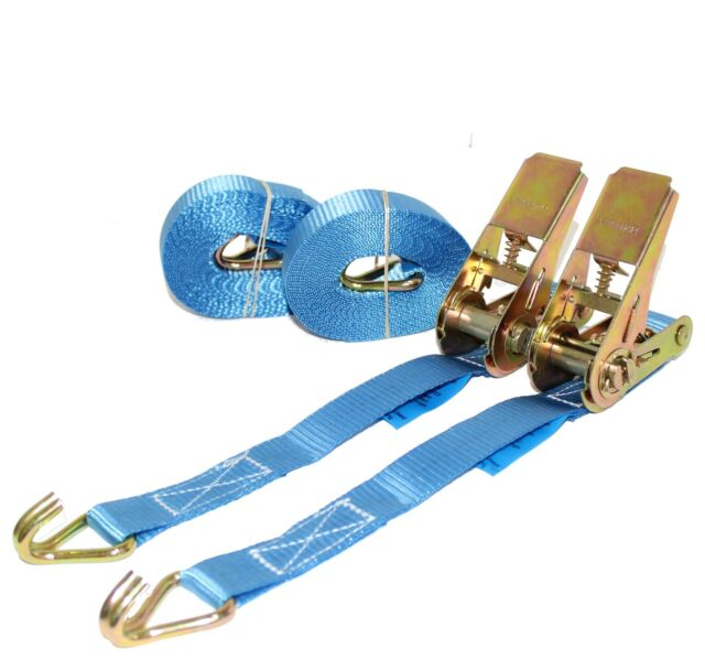 1 pair of 25mm 800kg 5 Meter Blue Ratchet Tie Down Straps Lorry Lashing Trailer