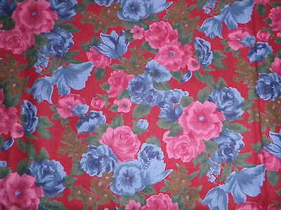 Vintage Rose & Hubble Brushed Cotton Dress Fabric Chelsea Collection Red Roses