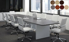 28 Ft Foot Modern Conference Table With Grommets For Power White Gray 8 Colors