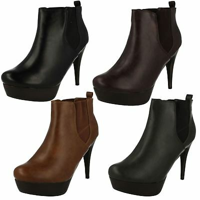 R34B Coco L8R629 Ladies Dark Gray Zip Up Platform High Heel Ankle Boots