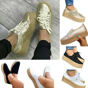 Women-039-s-Platform-Sneakers-Canvas-Lace-Up-High-Wedge-Pumps-Elevator-Shoes-Casual