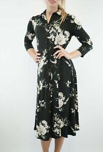 Wallis-New-Black-Floral-Button-Through-Dress-Women-Long-Shirt-Dress-Size-8-to-20