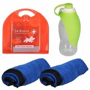 éNergique Pet Voiture Kit Voyage - 24pc First Aid Kit, 2 X Serviette & Portable Feuille Bouteille-afficher Le Titre D'origine