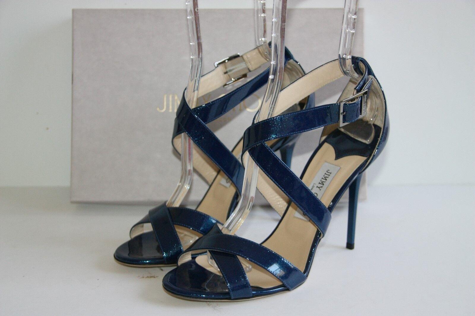 nuovo di marca  750 Brand New Jimmy Choo LOTTIE LOTTIE LOTTIE Metallic blu Patent Leather Sandals 40.5 10.5  merce di alta qualità e servizio conveniente e onesto