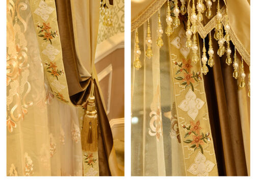 Thicken solid French Velvet Embroidery luxury blackout curtain valance N188*