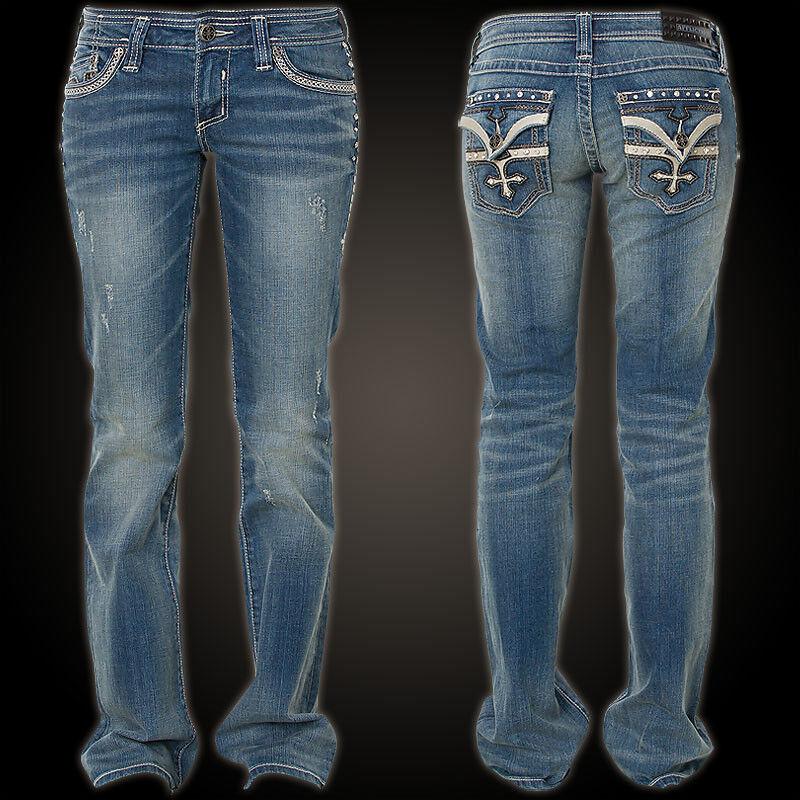 AFFLICTION Damen Jeans Jade Stone Cross Flap Firewall Blau  Affliction