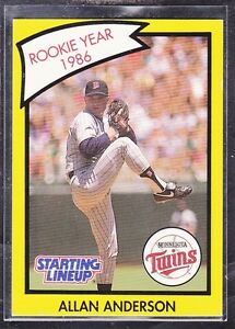 1990 ALLAN ANDERSON - Kenner Starting Lineup Card - Minnesota Twins - (Yellow)